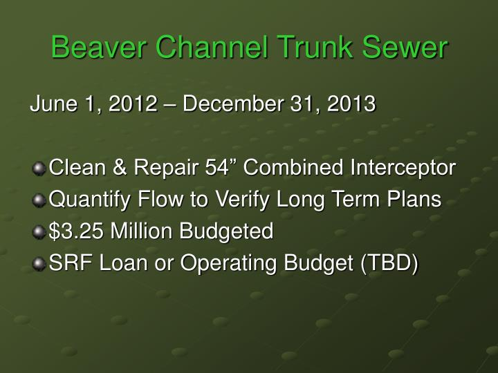 Beaver Channel Trunk Sewer