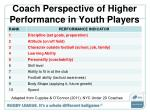 coach perspective of higher performance in youth players