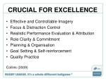 crucial for excellence