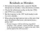 residuals as mistakes