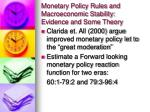 monetary policy rules and macroeconomic stability evidence and some theory