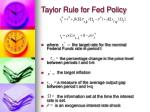 taylor rule for fed policy