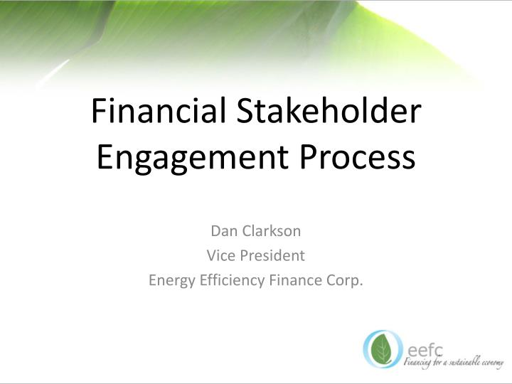 financial stakeholder engagement process n.