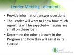 lender meeting elements