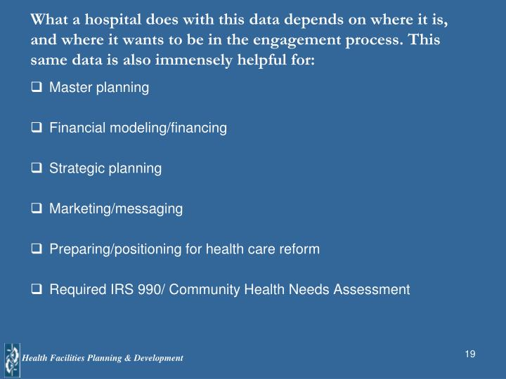 What a hospital does with this data depends on where it is, and where it wants to be in the engagement process. This same data is also immensely helpful for: