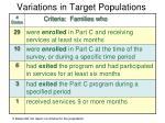 variations in target populations