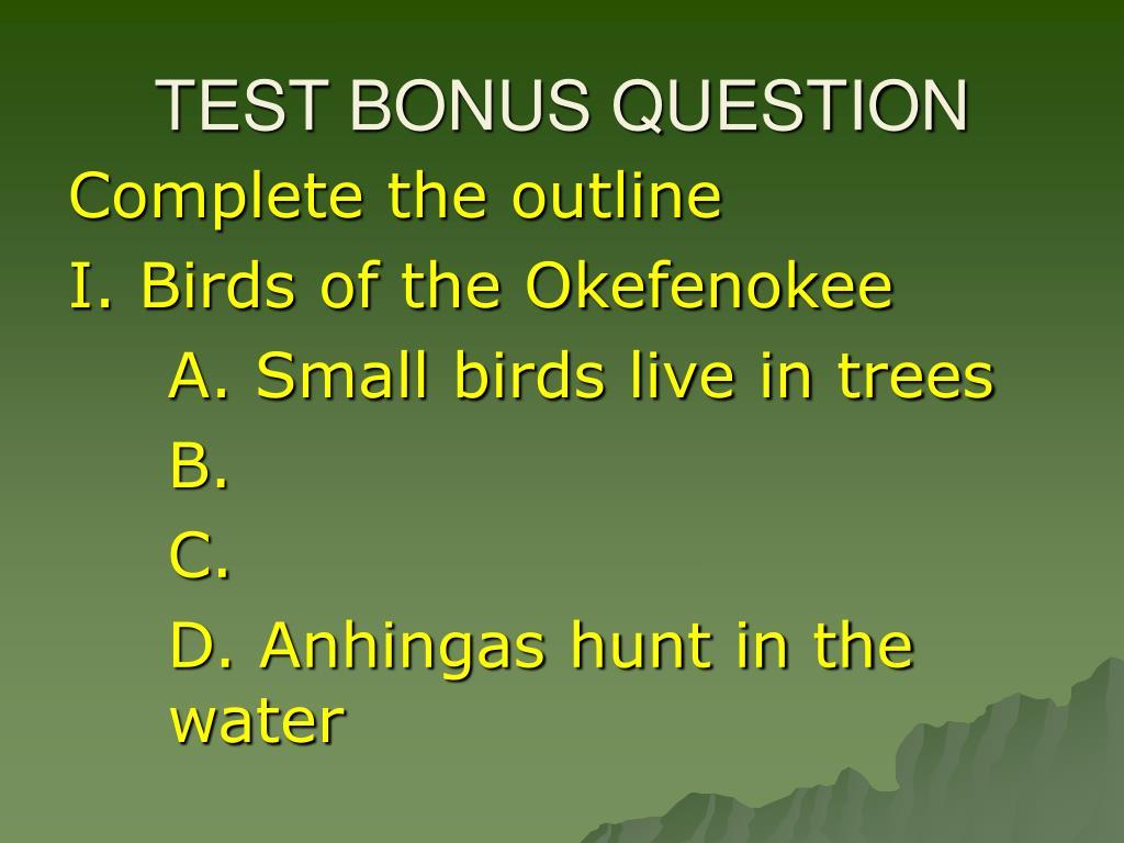 TEST BONUS QUESTION