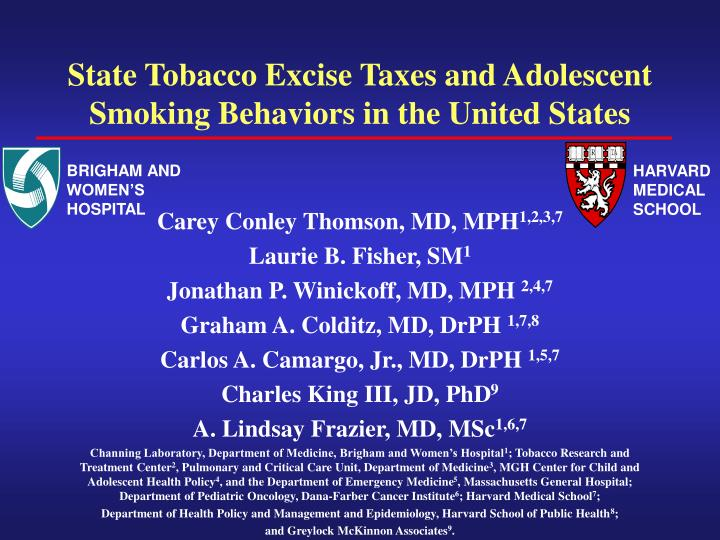 state tobacco excise taxes and adolescent smoking behaviors in the united states n.