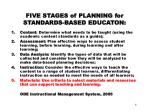 five stages of planning for standards based educaton