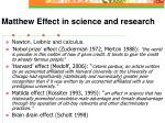 matthew effect in science and research