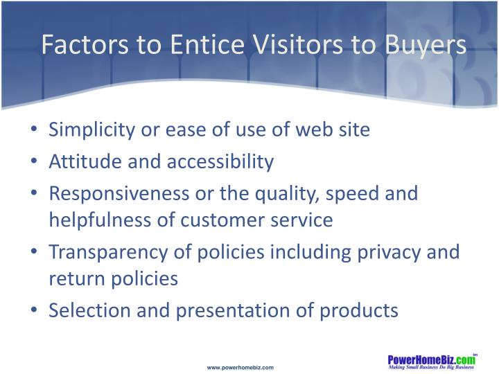 Factors to entice visitors to buyers
