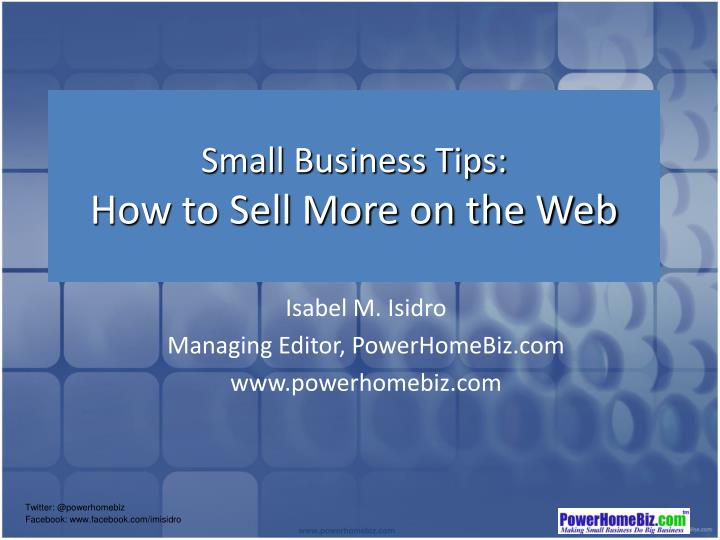 small business tips how to sell more on the web n.