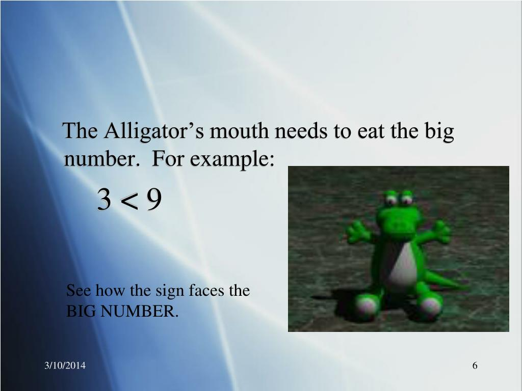 The Alligator's mouth needs to eat the big number.  For example: