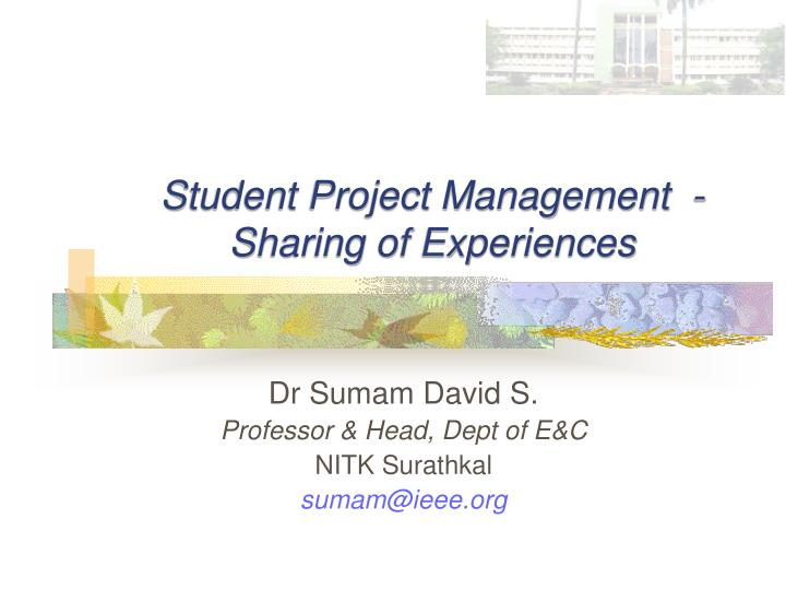 student project management sharing of experiences n.