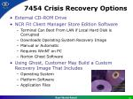 7454 crisis recovery options