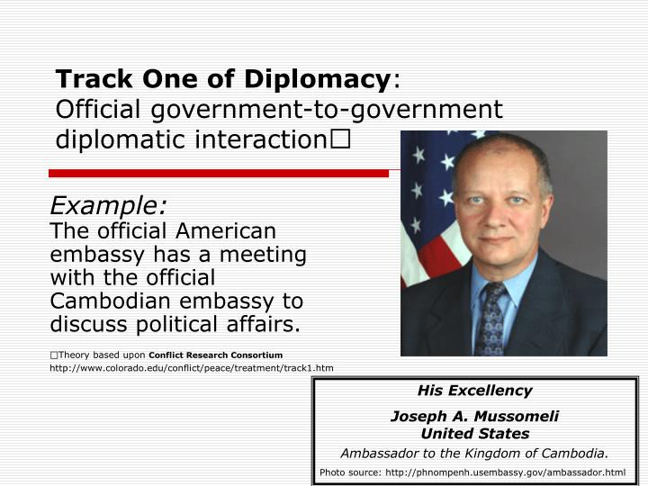 Track one of diplomacy official government to government diplomatic interaction