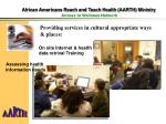 african americans reach and teach health aarth ministry access to wellness network