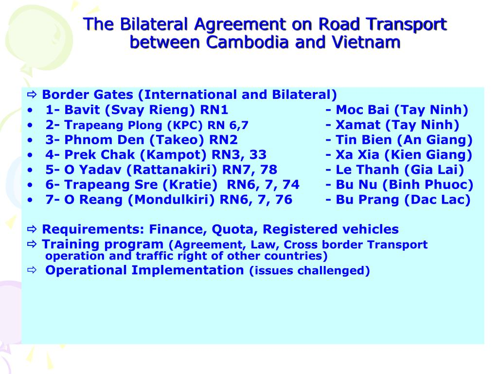 The Bilateral Agreement on Road Transport between Cambodia and Vietnam