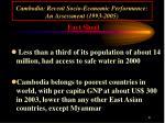 cambodia recent socio economic performance an assessment 1993 20056