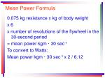 mean power formula