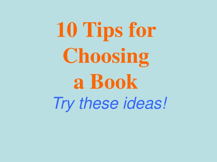 10 tips for choosing a book n.