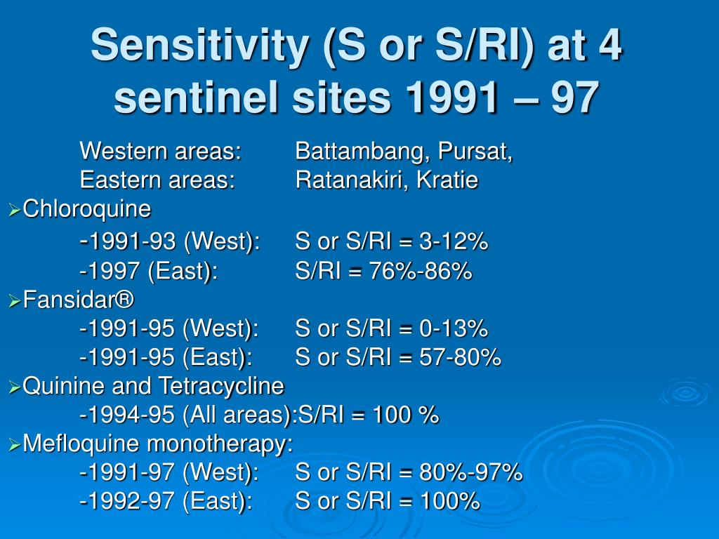 Sensitivity (S or S/RI) at 4 sentinel sites 1991 – 97