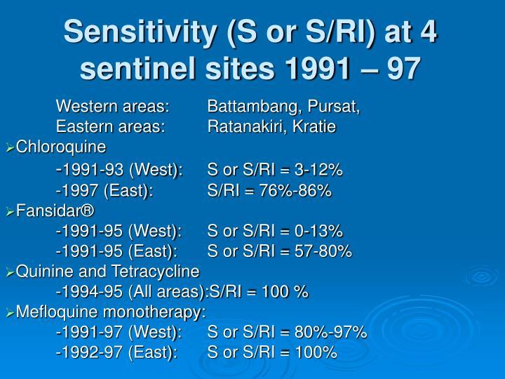 Sensitivity s or s ri at 4 sentinel sites 1991 97