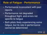 role of fatigue performance