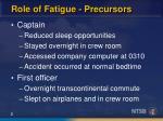 role of fatigue precursors