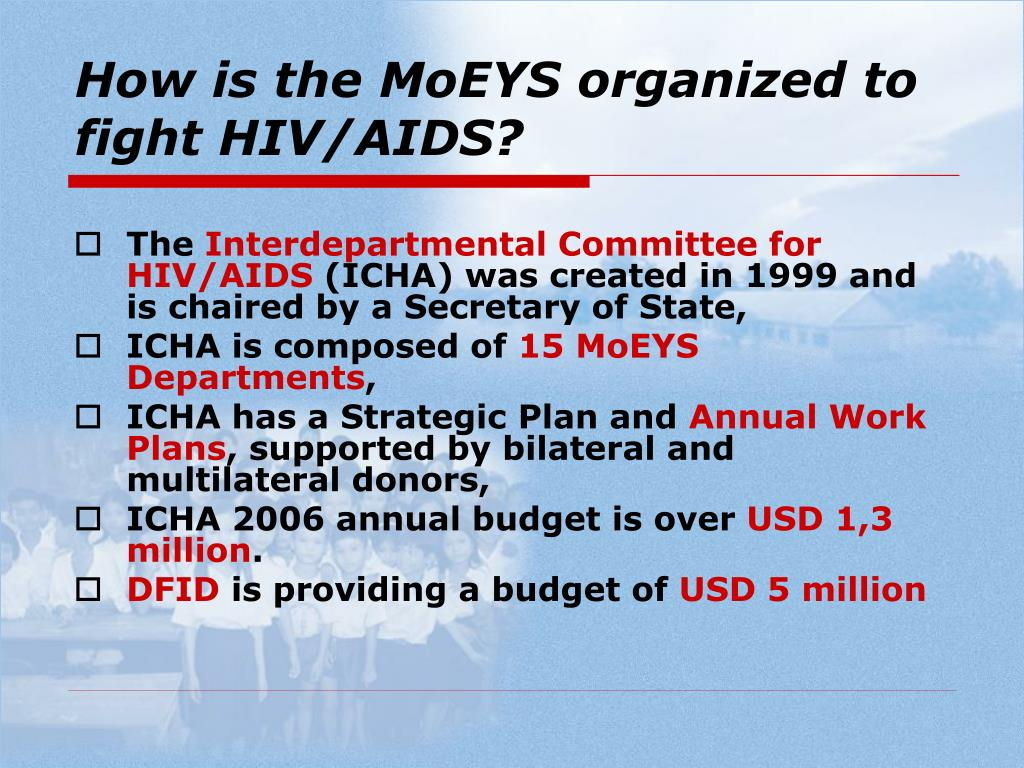 How is the MoEYS organized to fight HIV/AIDS?