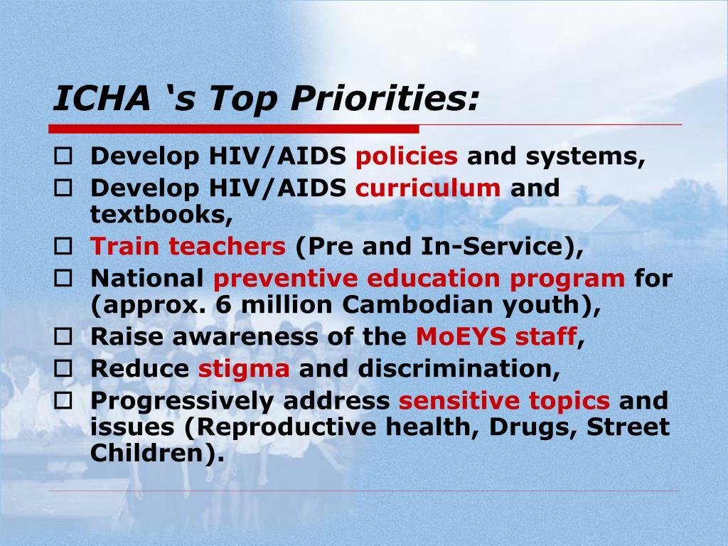 ICHA 's Top Priorities: