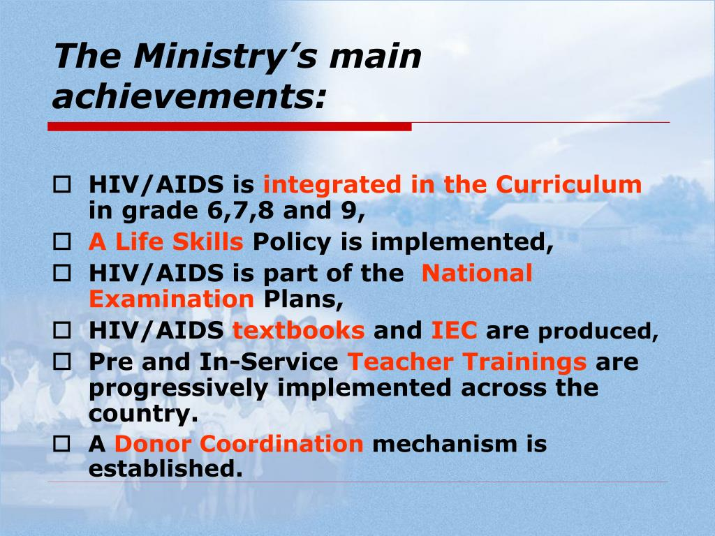 The Ministry's main achievements: