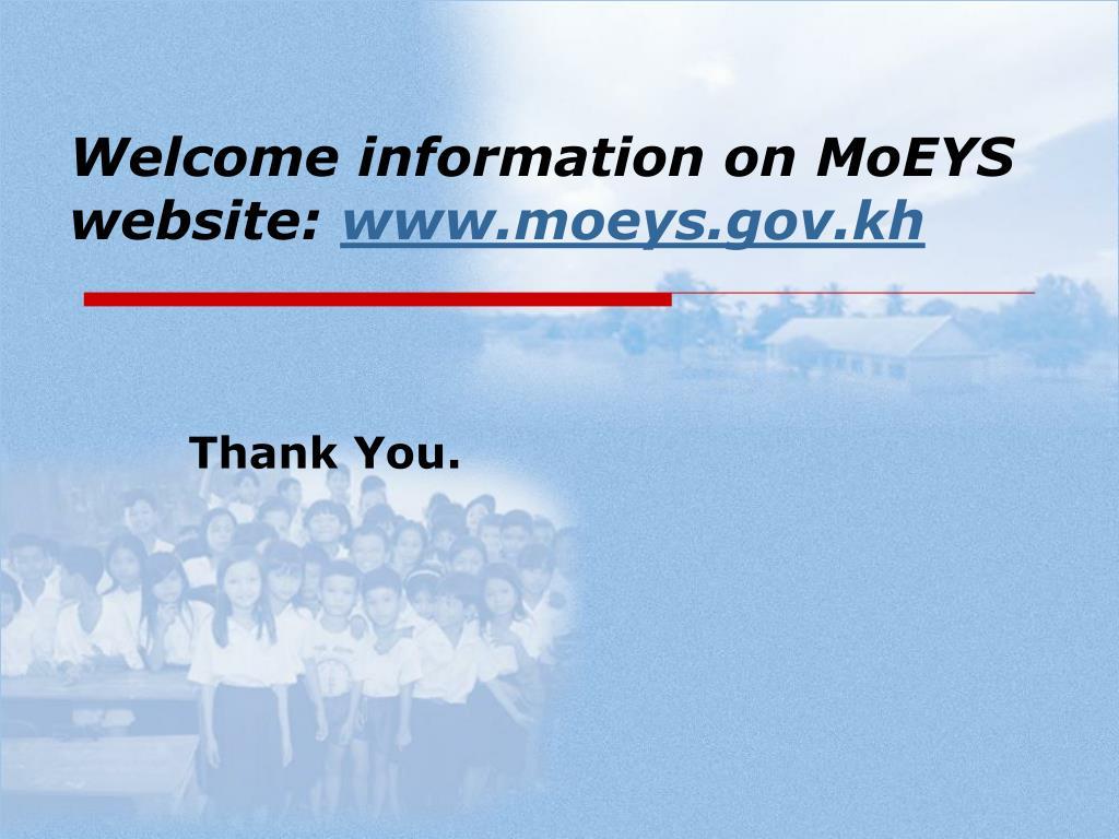 Welcome information on MoEYS website: