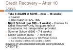 credit recovery after 10 days