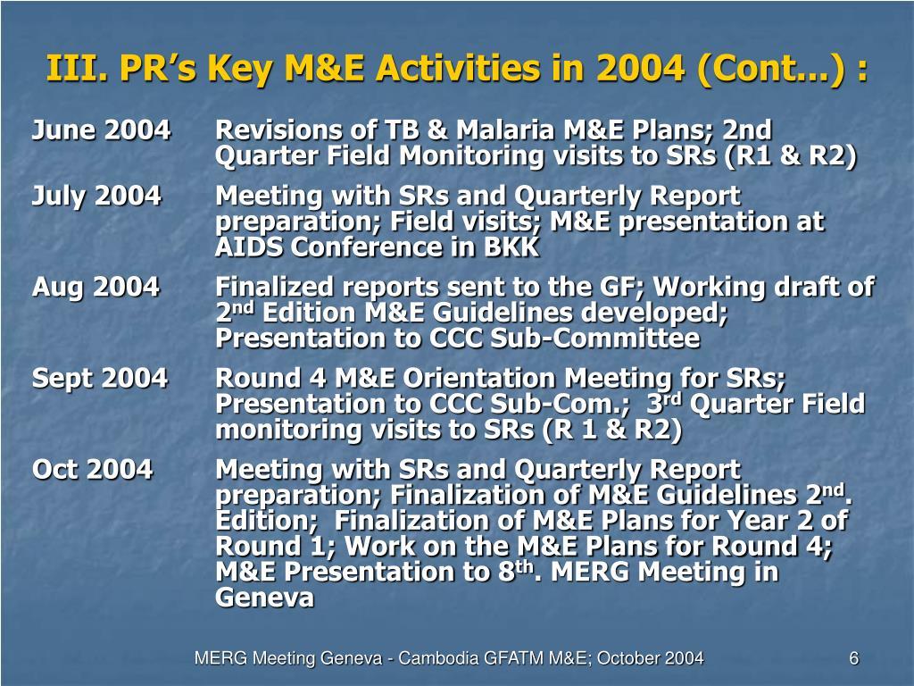 III. PR's Key M&E Activities in 2004 (Cont...) :