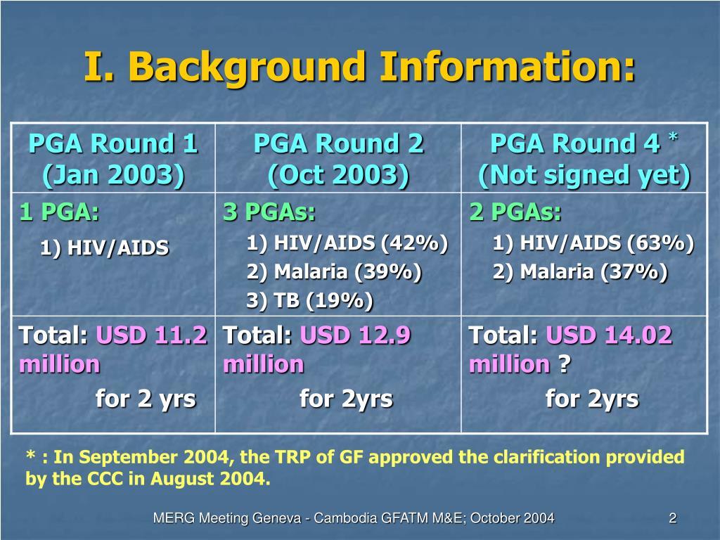 I. Background Information: