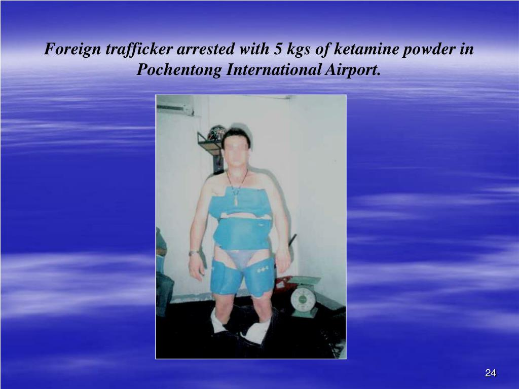 Foreign trafficker arrested with 5 kgs of ketamine powder in Pochentong International Airport.