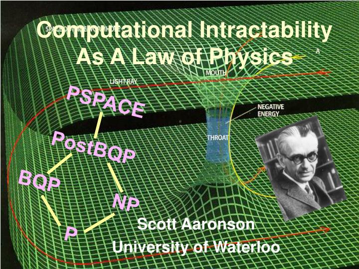 computational intractability as a law of physics n.