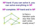 np hard if you can solve it you can solve everything in np
