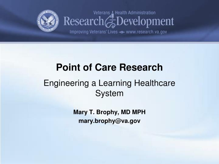 point of care research n.