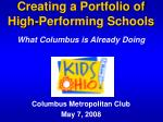 creating a portfolio of high performing schools what columbus is already doing