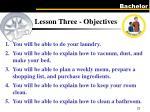 lesson three objectives