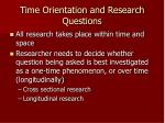 time orientation and research questions