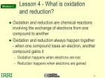 lesson 4 what is oxidation and reduction