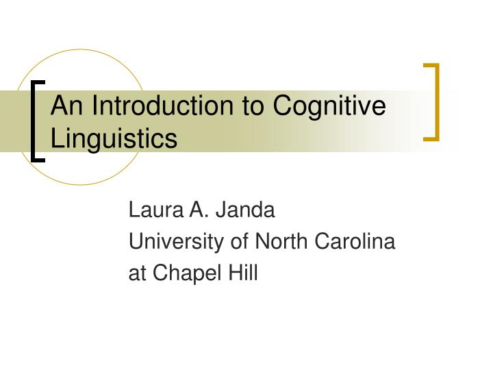 an introduction to cognitive linguistics n.