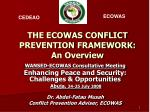 the ecowas conflict prevention framework an overview