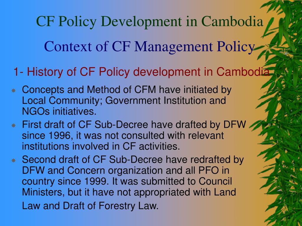 1 history of cf policy development in cambodia l.
