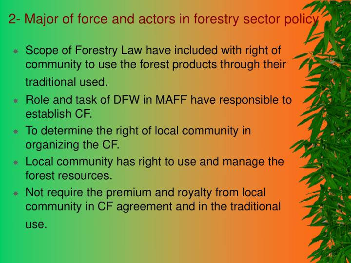2 major of force and actors in forestry sector policy