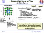 stream algorithms for tiled architectures