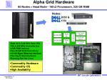 alpha grid hardware 80 nodes head node 160 2 processors 320 gb ram